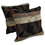 Blazing Needles Double-Corded Patterned Jacquard Chenille Square Floor Pillows with Inserts, 25-Inch, Dark Side of The Moon, Set of 2