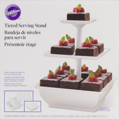 Wilton 307-108 Snack Server 3-Tower Tiered Stand for Cakes Bread Basket Cakes