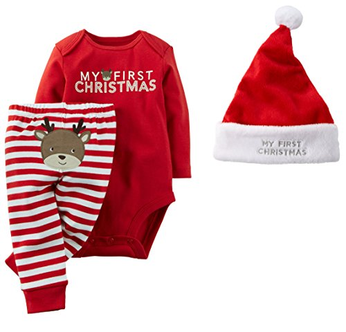 f010dff45 Carter's Baby My First Christmas 3 Piece Bodysuit Pant and Santa Hat Set  Unisex (6