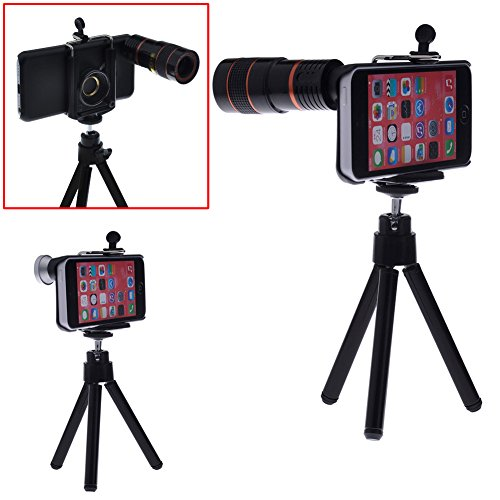Neewer® Camera Lens Kit For For Iphone 5C Including: 8X Telephoto Lens / Fisheye Lens / Wide Angle Lens / Macro Lens / Mini Tripod / Universal Phone Holder / Protective Hard Case / Velvet Phone Bag / Microfiber Cleaning Cloth - Awesome Photography Accesso