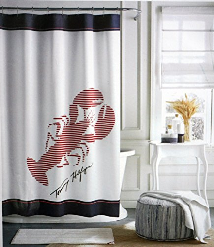 Tommy Hilfiger Cotton Shower Curtain Wide Stripes Fabric Red Navy Blue Lobster