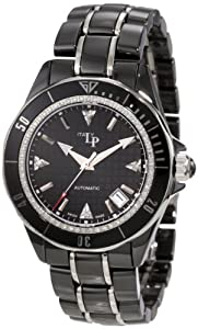 Lucien Piccard Women's 27109BK Celano Mid Size Automatic Diamond Accented Black Grid Dial Black Ceramic Watch