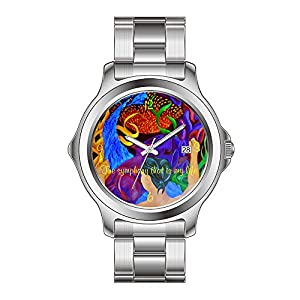 FYD Watch Man's Fashion Stainless Steel Band Watch Art Design Vintage Watch Symphony