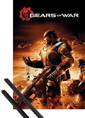 Poster + Sospensione : Gears Of War Poster Stampa (91x61 cm) Key Art e Coppia di barre porta poster nere 1art1®