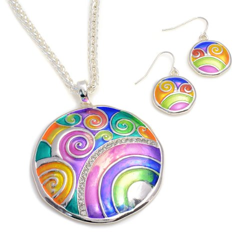 Multi Color Bright Round Pendant Necklace and Earring Set Fashion Necklace