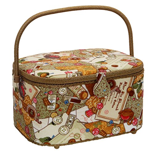 Why Choose Dritz St. Jane Sewing Basket Large Oval (14.25 L x 10.25 W x 8 H); Buttons in Gold, Gr...