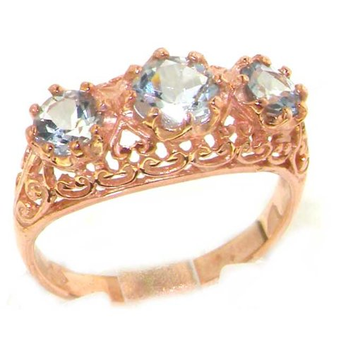 Luxury 9K Rose Gold Womens Ice Blue Aquamarine Vintage Style Filigree Eternity Band Ring - Size 12 - Finger Sizes 5 to 12 Available - Suitable as an Anniversary ring, Engagement ring, Eternity ring, or Promise ring
