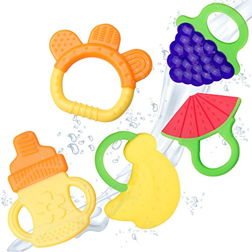 Baby Teething Toys – BPA Free Natural Organic Freezer Safe Teether Set for 3 to 12 Months Babies, Infants, Toddlers by Ashtonbee (5 Pack)