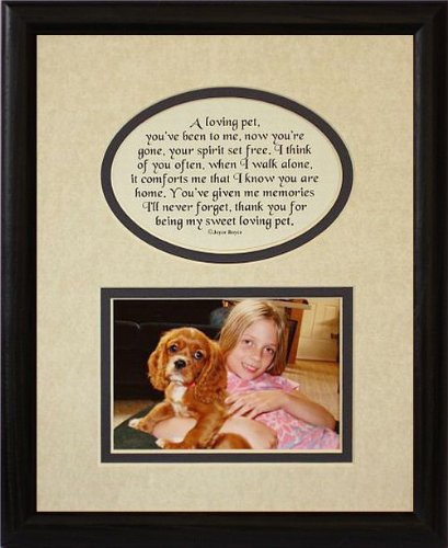 8x10 LOVING PET Picture & Poetry Photo Gift Frame ~ Cream/Navy Blue Mat with BLACK Frame * Memorial * Bereavement * Sympathy * Condolence Picture and Poetry Keepsake Gift Frame for a Beloved Pet