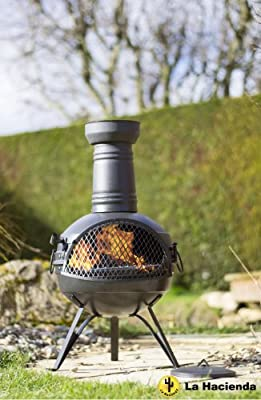 Free Cover La Hacienda 78cm Rancho Steel Chiminea Chimenea Patio Heater With Bbq Grill