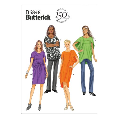 Butterick Patterns B5848 Misses' Top, Dress and Belt Sewing Template, Size ZZ
