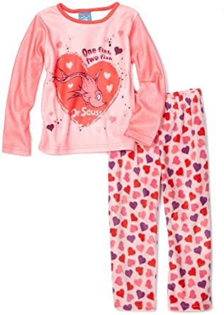 Baby Togs Little Girls'  Pink Microfleece Sleepwear Set with One Fish Two Fish Graphic, Pink, 2T
