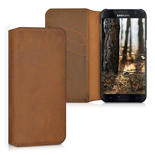 kalibri-Echtleder-Tasche-Hlle-fr-Samsung-Galaxy-S7-Case-mit-Fchern-und-Stnder-in-Cognac