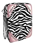 Zebra Print Bible Cover with Rhinestones, Light Pink
