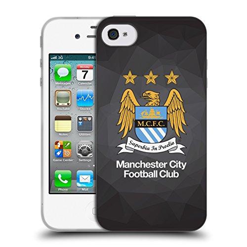 Ufficiale Manchester City Man City FC Nero Geo Colore Inero Crest Geometrico Cover Morbida In Gel Per Apple iPhone 4 / 4S