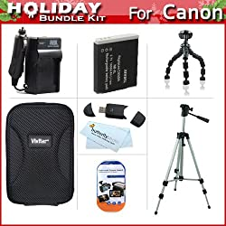 "Holiday Accessories Gift Kit For Canon PowerShot S95, SD4000 IS Digital Camera Includes Extended Replacement NB-6L (1200 mAH) Battery + Ac/Dc Travel Charger + Hard Case + 50"" Tripod + USB 2.0 SD Reader + 7"" Flexible Tripod + Screen Protectors + More"