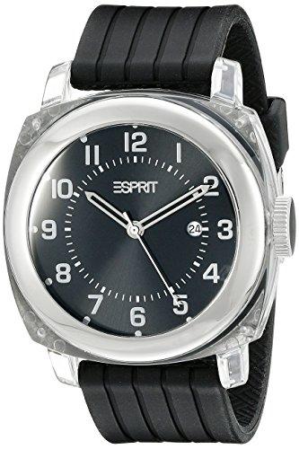 Esprit A.ES900631002 - Reloj analógico de cuarzo unisex con correa de piel, color negro