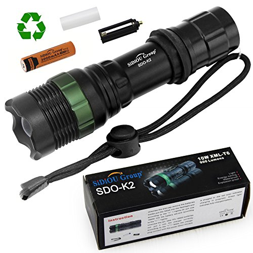 Sidiou Group Super Bright Cree T6 LED Flashlight torch 900 Lumens 7W Zoomable Torch With 1 x 3.7V 3000mAH 18650 Li-ion Rechargeable Battery (K2)