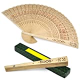 LYNCOL Chinese Sandalwood Scented Wooden Openwork Folding Fan + Gift Boxed - Perfect for Summer Occasions, outdoor weddings, Garden Parties and much more