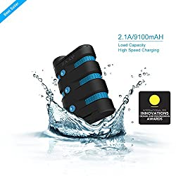 ZAAP® (USA) 794504998832 9100mAh Defender Universal Power Bank, Waterproof /Shockproof/Dirtproof/Rugged {PowerFlo Technology & Highest-Quality Panasonic Cells} Turbo charging 2.1A CES Award Winner design Battery Charger.