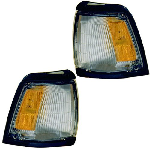 1992-1995 Toyota Pickup Truck 2Wd 4X2 (With Black Trim, Paint To Match) Corner Park Light Turn Signal Marker Lamp Set Pair Right Passenger And Left Driver Side (1992 92 1993 93 1994 94 1995 95)