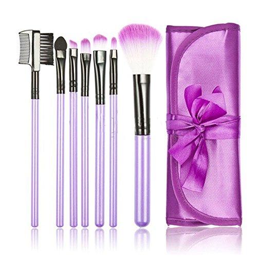 7-Pinceau-Brosse-Fard--Joues-Teint-Poudre-Paupires-Liner-Trousse-Violet