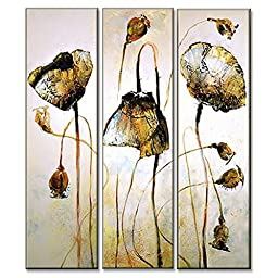 Neron Art - Flowers Gold Poppy Floral Oil Paintings Set of 3 Panels on Gallery Wrapped Canvas 30X29 inch (76X74 cm)