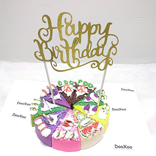 DOOXOO Gold Glitter Happy Birthday Cake Topper First Birthday Cupcake Topper Cake Smash Candle Alternative Birthday Cake ( Set of 6 ) (Gold Birthday Candle Number compare prices)