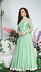 Snapyshopy Designer Green colord Emboidered Work Georgtte Anarkali Suit