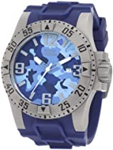 Invicta 1096 Stainless Steel Excursion Diver Quartz Blue Camo Dial Rubber Strap
