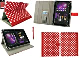 Emartbuy® Red Stylus + Universal Range Polka Dots Red / White Multi Angle Executive Folio Wallet Case Cover With Card Slots Suitable for HP Slate 10 HD