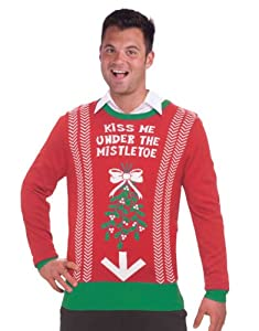 Inappropriate Funny Ugly Christmas Sweater Under the Mistletoe by Forum Novelties