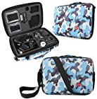 DURAGADGET Limited Edition Blue Camo Travel Armoured Protective Shell Storage Case With Shock Absorbing Foam & Carry Handle Designed For GoPro Headcams Including GoPro Hero 3 AHDBT-301 Camcorder - (Black, Silver and White Editions), HERO3+ CHDHX-302 / CHDHN-302, Hero 2, Hero 1, HD Hero 960 Cameras