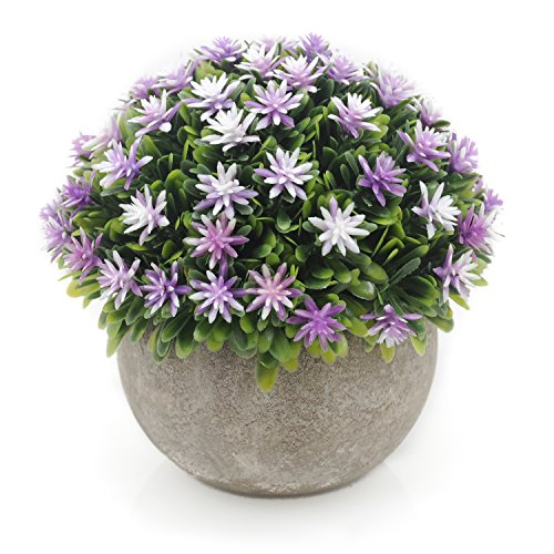 Velener Mini Plastic Artificial Pine Ball Topiary Plant with Pots for Home Decor (Purple Flower)