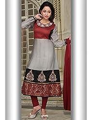 Utsav Fashion Women's Maroon And Grey Cotton Chanderi Readymade Churidar Kameez-Small