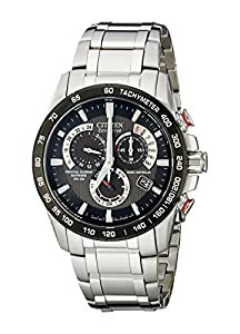 Citizen Men's Eco-Drive Chronograph Watch AT4008-51E  with a Black Dial and a Stainless Steel Bracelet