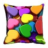 MeSleep Multi Color Heart Valentine Cushion Cover (16x16)