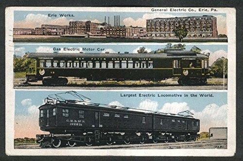 General Electric Co Erie Pa Gas Electric Motor Car Locomotive Postcard 1928