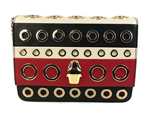 CAVALLI CLASS Milano Bag borsa tracolla PELLE BLACK RED CLN.002 U