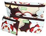 Ambajam Set of 3 Fabric Bags/Coin Purse, Kleo Brown/Brown Zipper