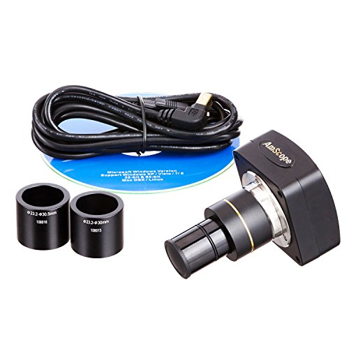 AmScope MU500-CK 5.0 MP USB Microscope Camera with Software and Calibration Kit, Compatible with Windows XP/Vista/7/8/10 and Mac OSX