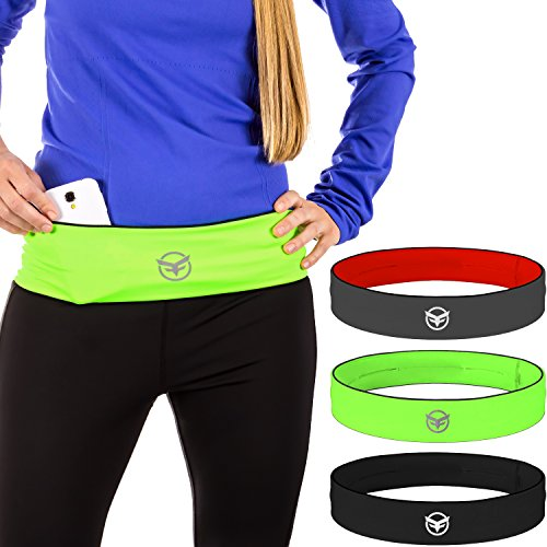 Running Belt-The Runners Belt that Secures Running Accessories in Place, Hassle Free Stylish Comfortable Versatile Workout Sports Belt by FitFoxy (Black-XS)