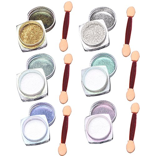 6Pcs/set 2g/box Nail Art Mirror Glitter Shinning Nail Chrome Pigment Powder Nail Art Tools with Sponge Stick
