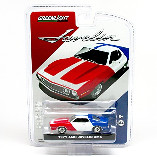 1971 AMC JAVELIN AMX (Red, White & Blue) 1:64 Scale 2015 Greenlight Collectibles Limited Edition Hobby Exclusive Die-Cast Vehicle
