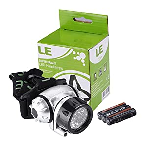 LE LED Headlamp, 18 White LED and 2 Red LED, 4 Brightness Level Choice, LED Headlamps, 3 AAA Batteries Included by LE