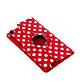 Stylish 360 Rotating PU Leather Stand Case Cover For New Google Nexus 7 FHD II 2nd Gen (Polka Dot Pattern/ Red)