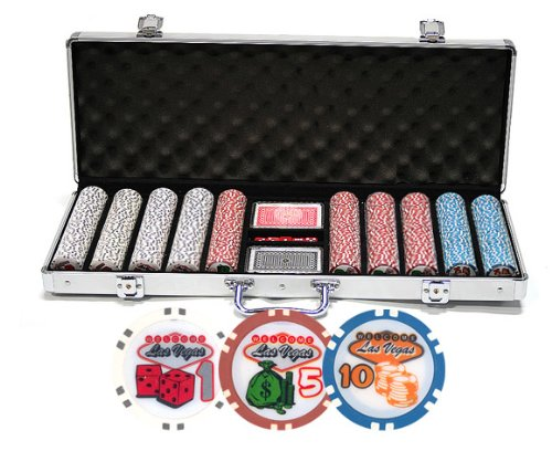Da Vinci Premium Set of Welcome to Las Vegas Poker Chips with Case, Cards, & Dice