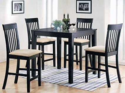 5-pc Pack Miranda Design Counter Height Dining Table Set in Espresso Finish ACS70314