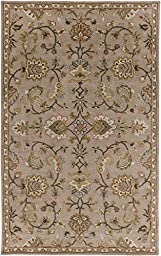 Beige Rug Classic Design 5-Foot x 8-Foot Hand-Made Traditional Wool Carpet