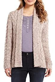 Indigo Collection Cable Knit Cardigan with Mohair [T66-3200-S]